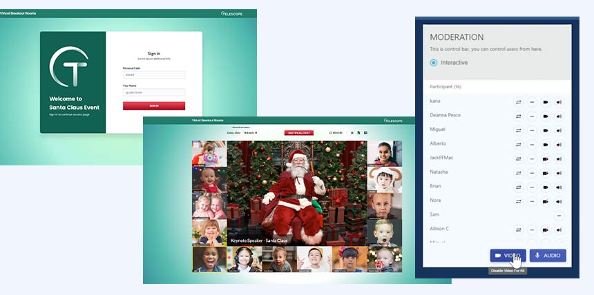 christmas breakout room and moderation tool
