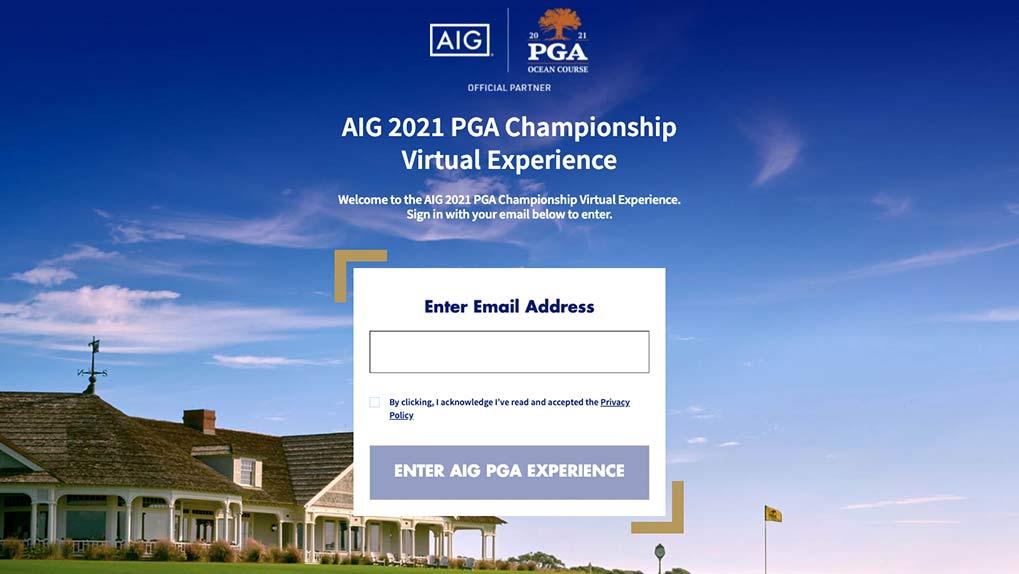 AIG PGA Virtual Event Hub Login Page