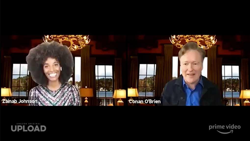 screenshot of Zainab Johnson and Conan O'Brien in a Zoom call during the Q&A