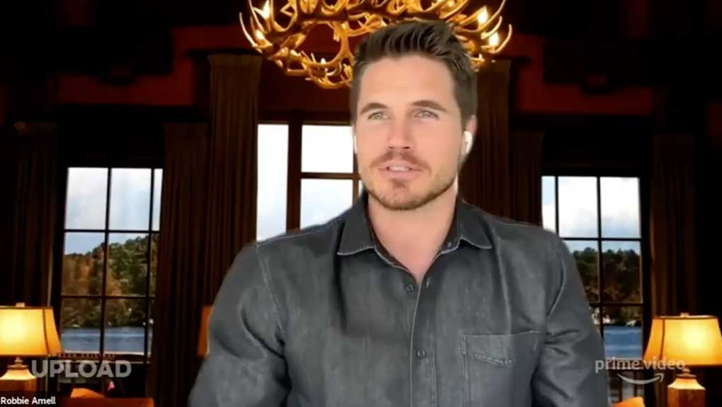 picture of Robbie Amell the star of Upload talking on the Q&A