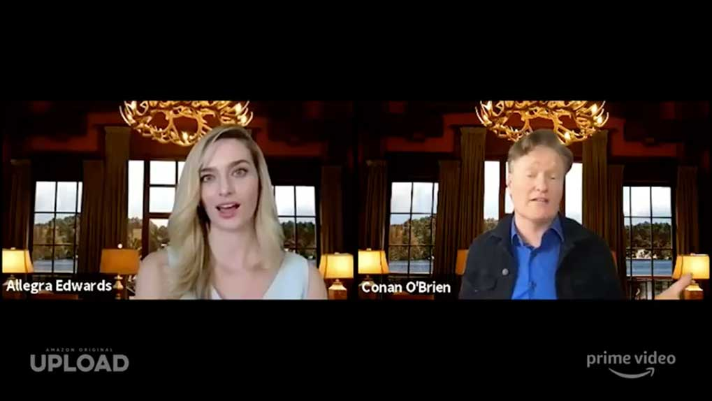 screenshot of Allegra Edwards and Conan O'Brien in a Zoom call during the Q&A
