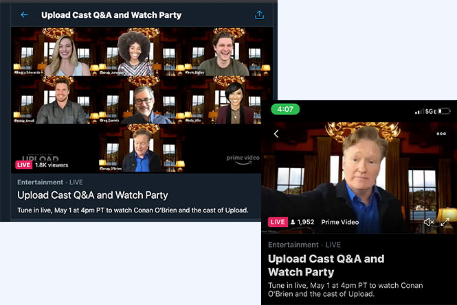 Desktop and Mobile views of the full cast and Conan O'Brien