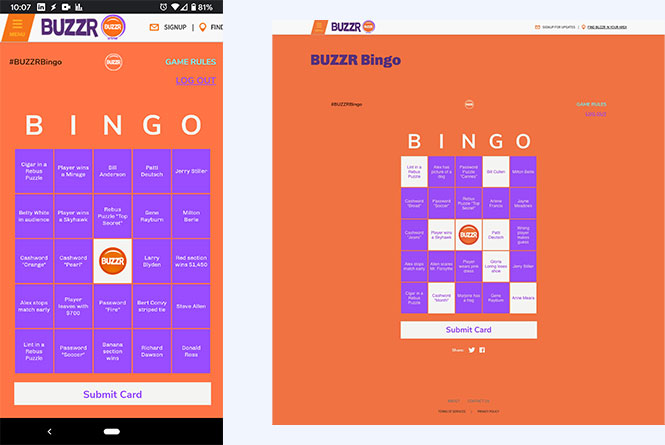Mobile and desktop views of the bingo cards