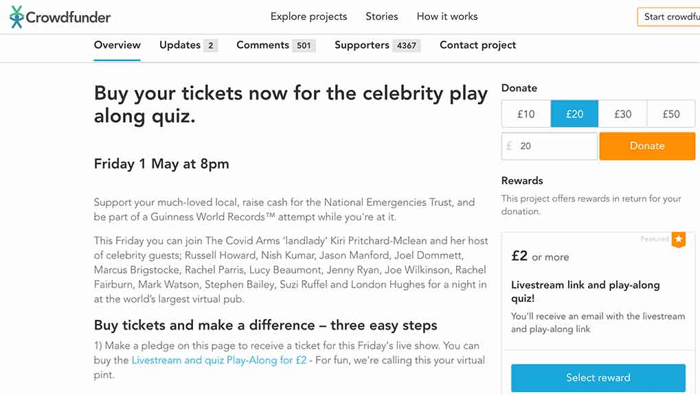 Crowdfunder site showing how to purchase a ticket to the event via donating