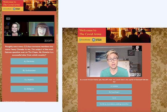 Mobile and desktop views of the campaign with trivia questions beneath the video player.