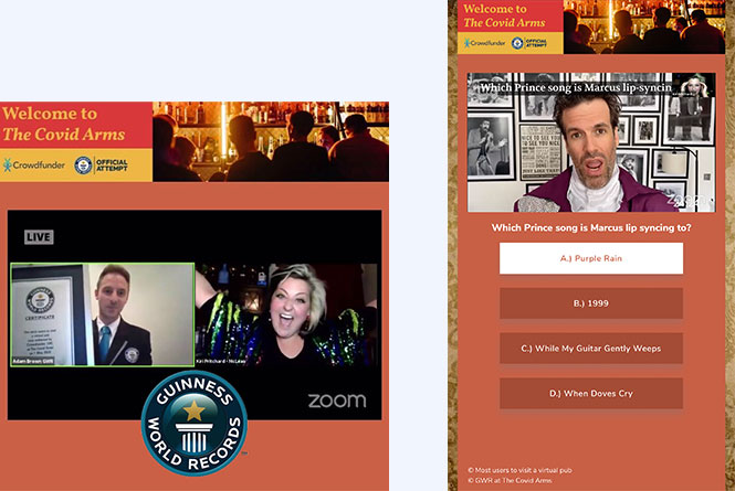 Desktop and mobile shotes of the pub experience with Trivia questions.