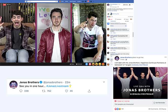 Social promos from Jonas Brothers on Facebook, Twitter and Live stream on facebook