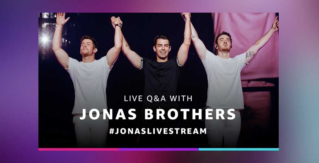 Jonas Brothers promo photo with the brothers and #jonaslivestream