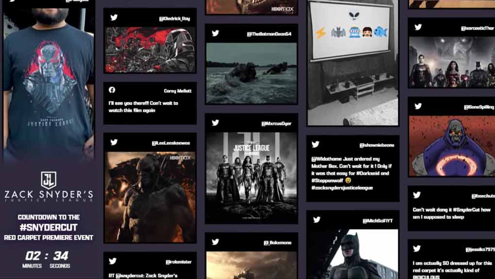 Justice League Social Wall with countdown