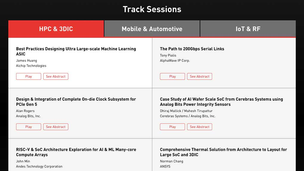Track sessions page