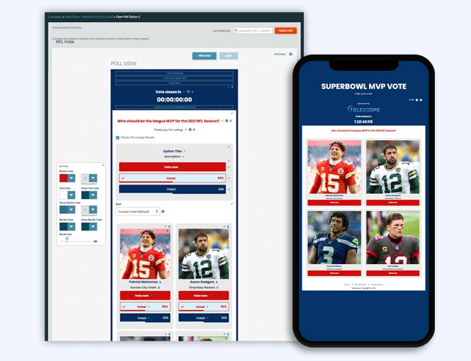 Superbowl MVP Vote poll and Campaign manager edit